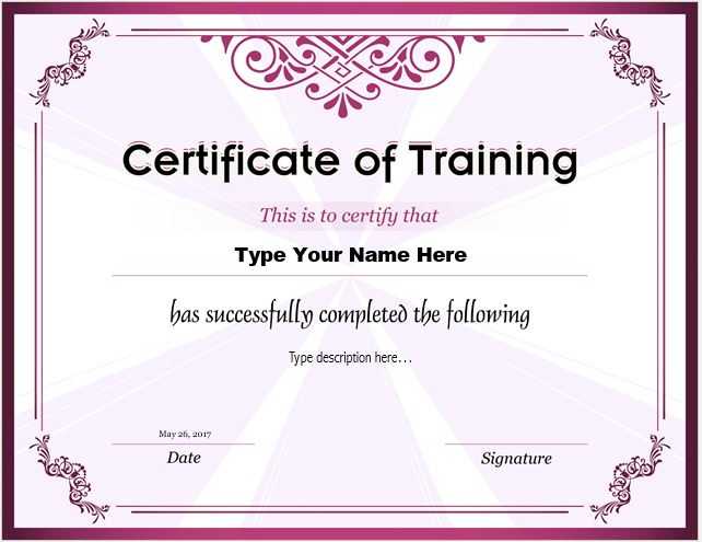 Certificates of Training Templates Professional Certificate Templates