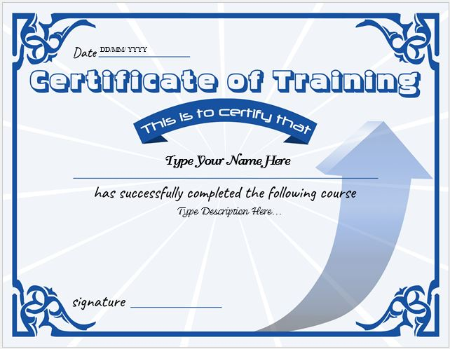 Certificates of Training Templates Professional Certificate Templates - training certificate