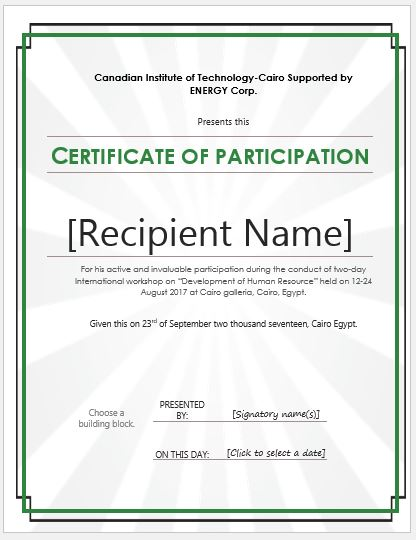 Certificate of Participation Templates for MS Word Professional - certificate of participation format