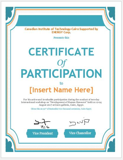 Certificate of Participation Templates for MS Word Professional - design of certificate of participation