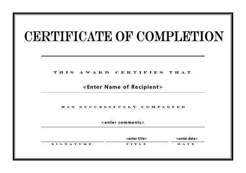 PDF-Free Printable Certificates of Completion Templates