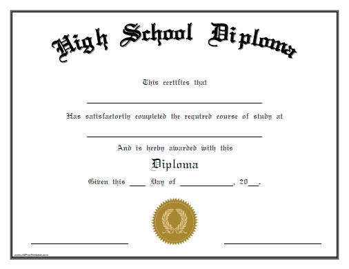 Blank Diploma Of Graduation Certificate Templates New