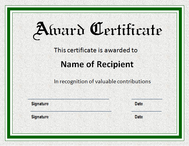 free award certificate template microsoft word - Ozilalmanoof