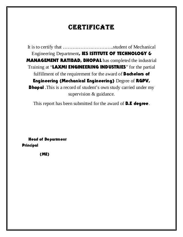Pletion Certificate Format 54 Pletion Certificate