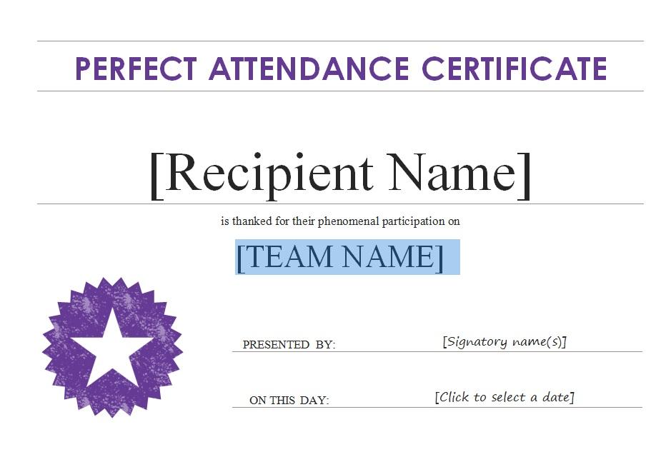 Certificate idea Templates Certificate Templates - free printable perfect attendance certificate template