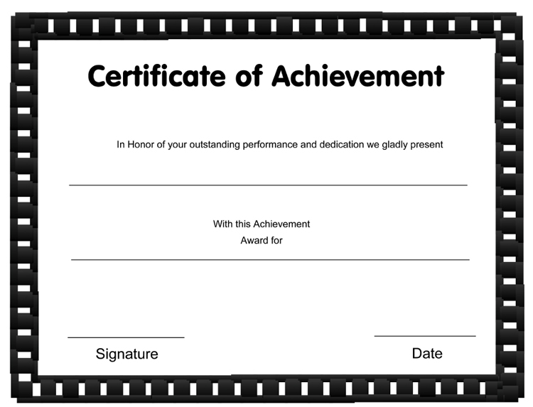 printable achievement certificate templates