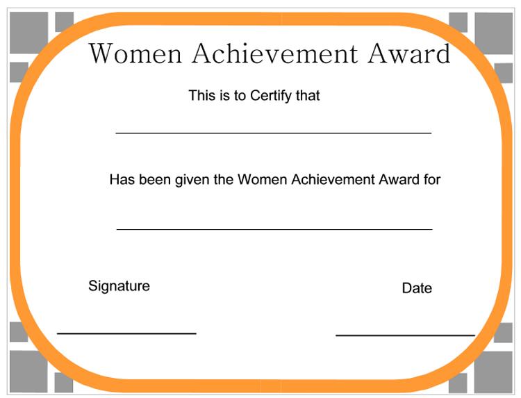 Women Achievement Award Certificate - CertificateTemplateNET