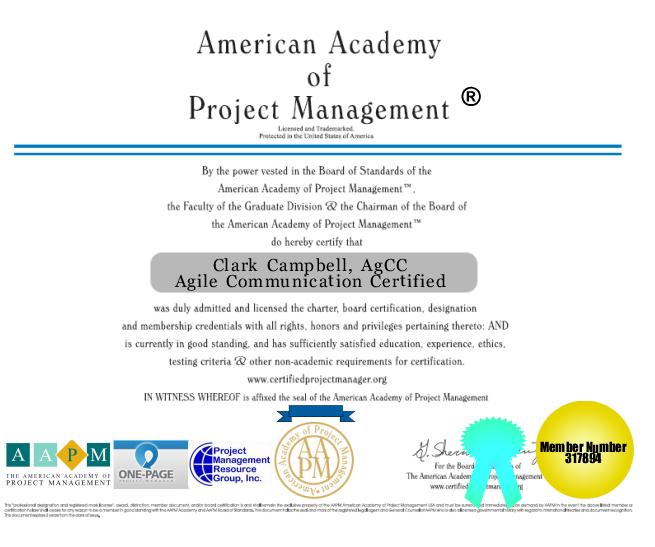 Agile Communications Certification Project Management AGCC CIPM