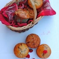 Muffins framboise et vanille, pépites de chocolat blanc