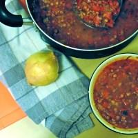 Soupe poivrons et lentilles