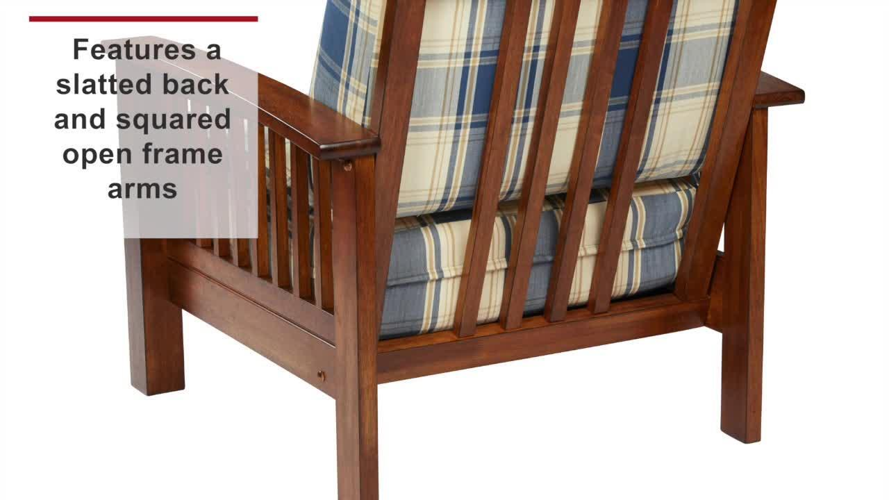 Handy Living Omaha Mission Style Dark Espresso Arm Chair With Exposed Wood Frame In Brown And Black Plaid 340c Ypd19 175b The Home Depot