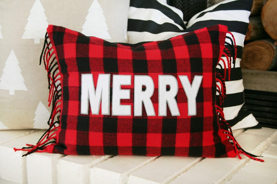 Bake Craft Sew Decorate DIY Buffalo Check Pillow - Classy Clutter - decorative christmas pillows