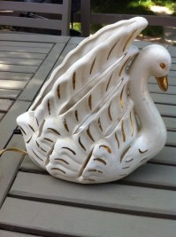 Old Ceramic Swan Lamp