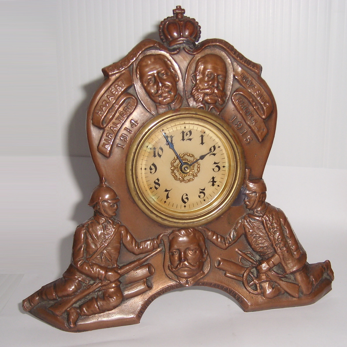 Metal Table Clock Vintage World War One Memories Metal Table Clock Usa