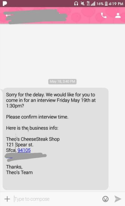 HOW dO I RESPOND TO COMFIRM A JOB INTERVIEW through text (PIC