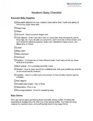 New Baby Items Checklist LoveToKnow - newborn checklist