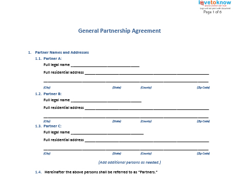 Free General Partnership Agreement Forms - partnership agreement