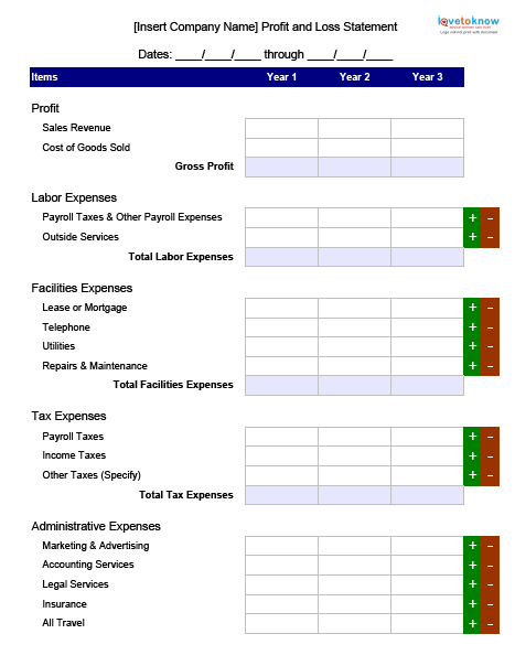 Profit And Loss Statement Profit And Loss Blank Form Profit Loss - fillable profit and loss statement
