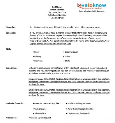 Fill In Resume Templates Fill In Resume Template 40 Blank Resume - blank resume template