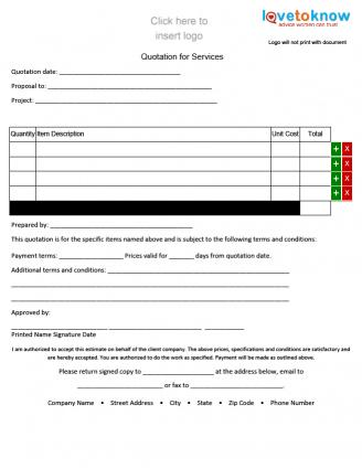 Free Quote Forms for Contractors LoveToKnow - company forms templates