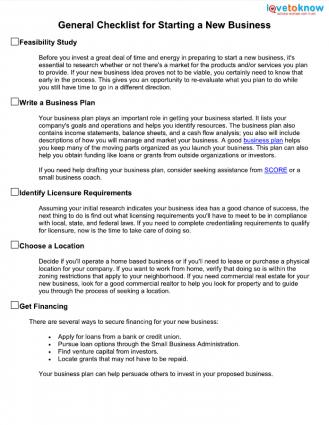 Checklist for Starting a New Business LoveToKnow - business startup checklist
