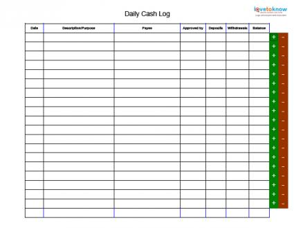 Daily Cash Log Template - free daily log