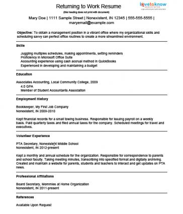 Stay At Home Dad Resume Advice Vocationvillage Pin Return To Work Letter Image Search Results On Pinterest