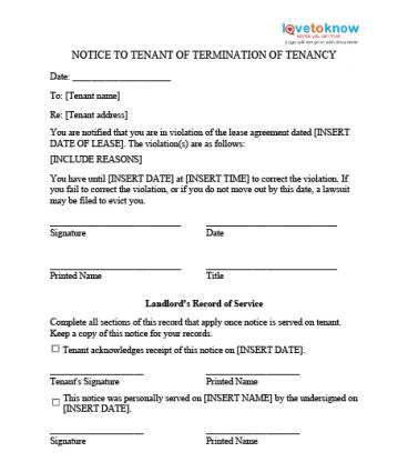 Eviction Notice Templates - copy of an eviction notice
