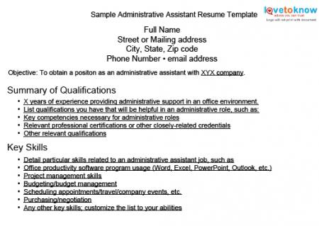 Sample Resumes for Administrative Assistants LoveToKnow - resume template for administrative assistant