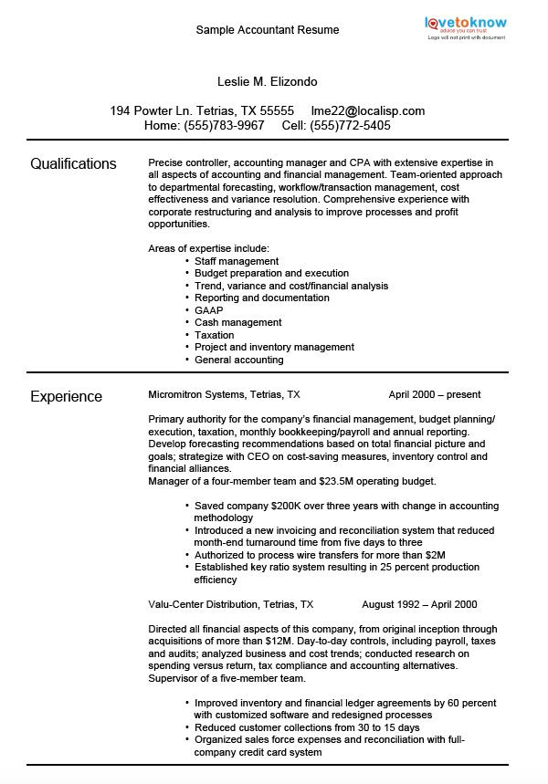Sample Accounting Resumes LoveToKnow - resume accomplishments examples
