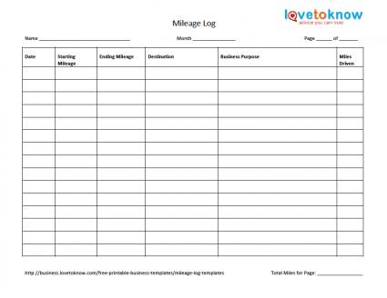 mileage log for taxes template