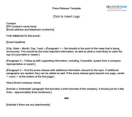 How to Write Press Releases LoveToKnow - press release template