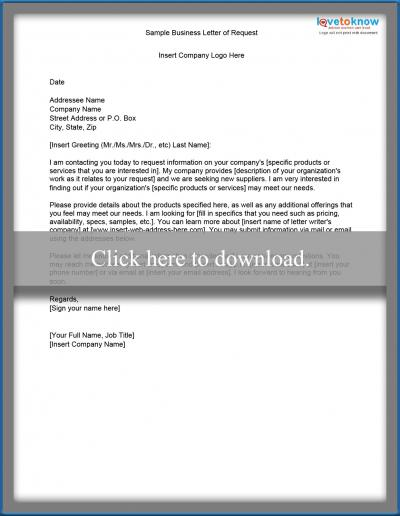 Free Sample Letters of Request LoveToKnow - Business Letter Example