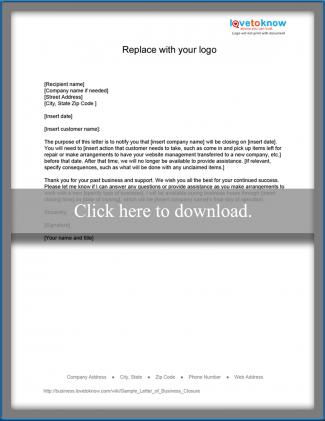 Sample Letter for Closing a Business LoveToKnow - sample closing a business letter