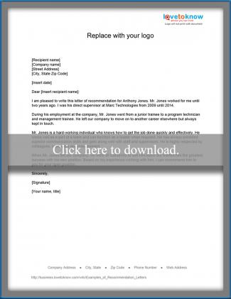 Examples of Recommendation Letters LoveToKnow - formats for letters of recommendation