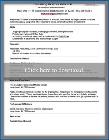 Good Stay Home Mom Resume Templates For At Moms Sample Returning To