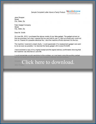 Sample Complaint Letter - product complaint letter sample