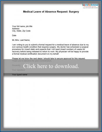 Medical Leave of Absence Example Letters - letter for absences