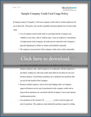 Sample Business Credit Card Use Policy LoveToKnow