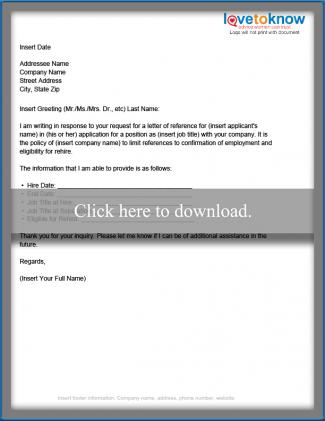 Business Reference Letter Template LoveToKnow