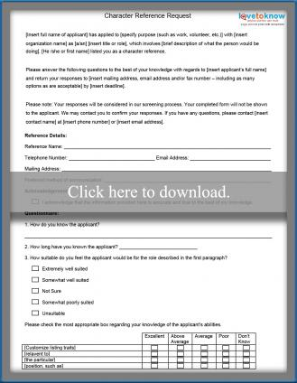 Character Reference Form - employee reference form template