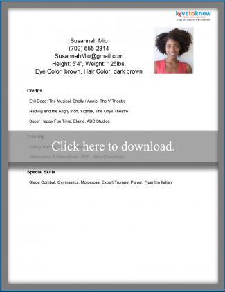 Acting Resume Templates LoveToKnow - acting resume