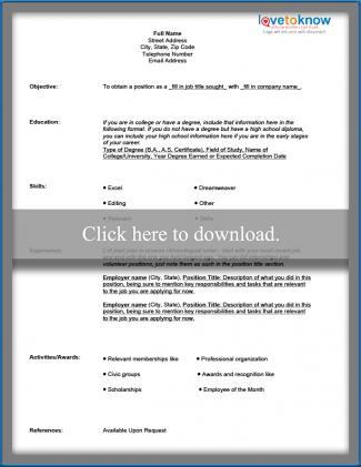 Free Blank Resume Form LoveToKnow