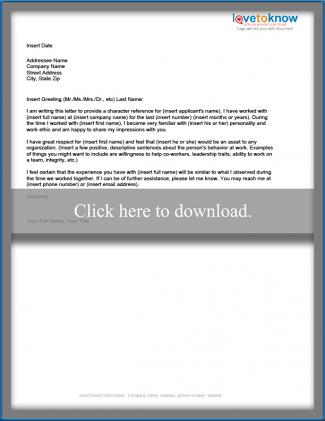 Examples of a Character Reference Letter - Sample Letters Of Character Reference