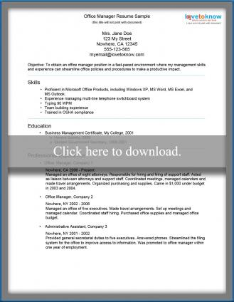 Office Manager Resume Sample - office manager sample resume