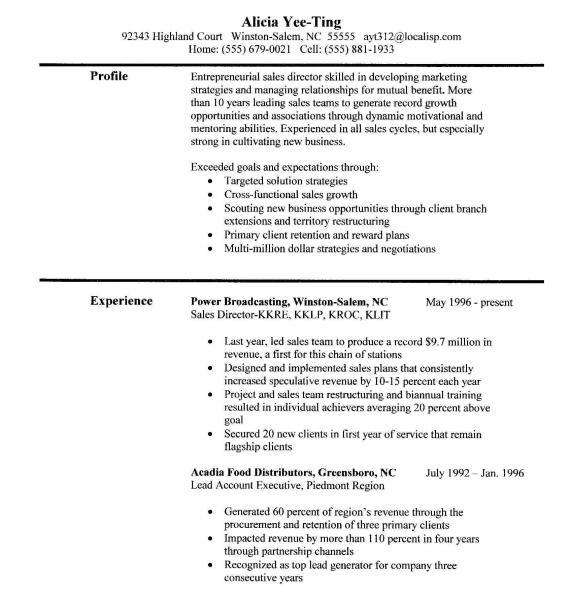 sales experience resume