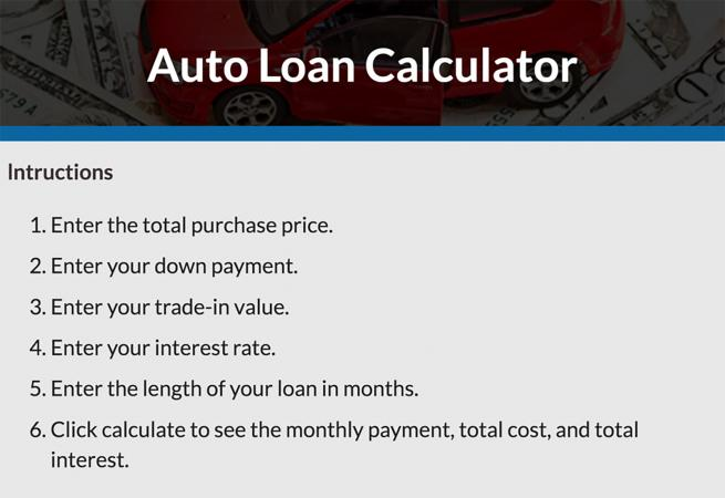 Car Loan Calculator LoveToKnow