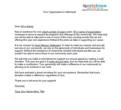 Samples of Non Profit Fundraising Letters LoveToKnow - donation letter example