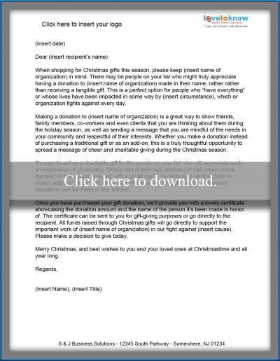 Christmas Donation Letter Templates - gift letter