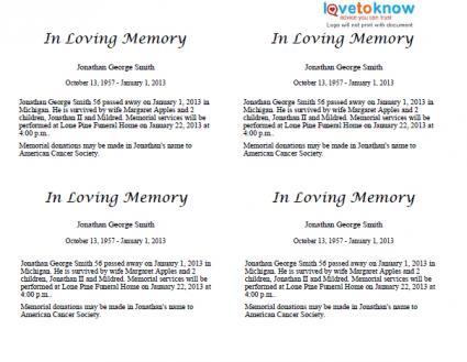 free sample obituary template